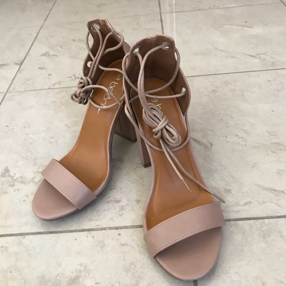257bacb6946 Blush lace up ankle strap heels
